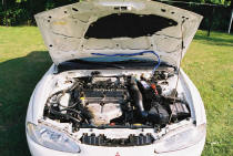 1996 Eclipse front view under the hood engine picture