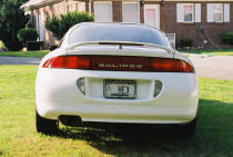 "1996 Mitsubishi Eclipse rear view check out the license plate...""HEX"" what about that"