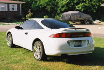 "left angle rear picture of 1996 Eclipse notice ""HEX"" license plate"